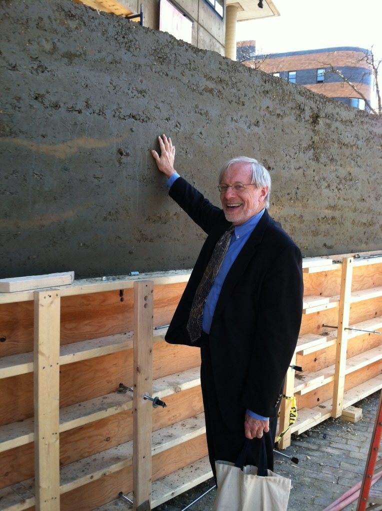 Jim Stockard inspecting the wall