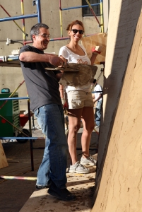 Chris Calott & Jean Lauer working on mud sail